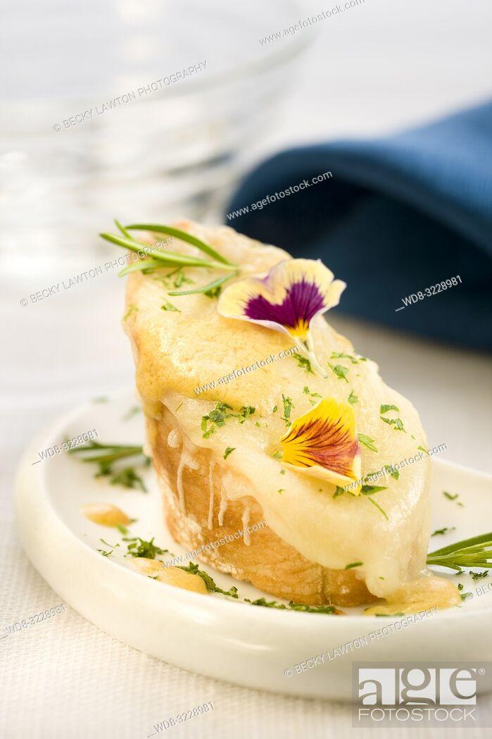 Photo de stock: Montadito de queso emmental con mostaza y perejil.