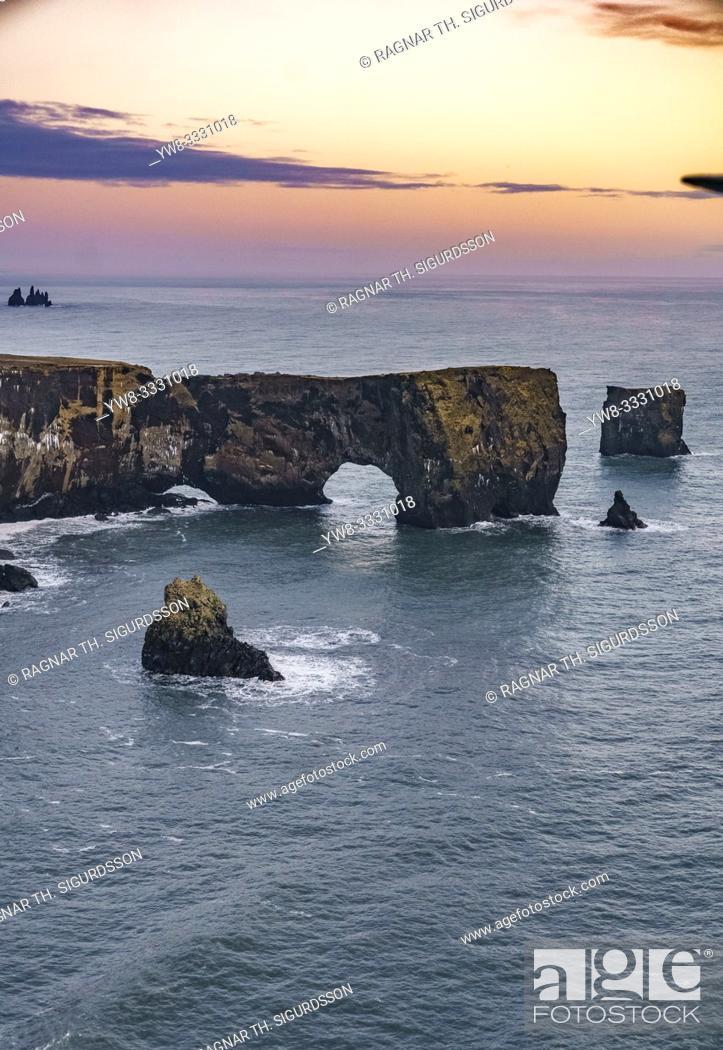 Stock Photo: Aerial - Dyrholaey, South Coast, Iceland.