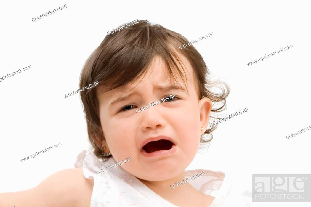 Stock Photo: Portrait of a girl crying.