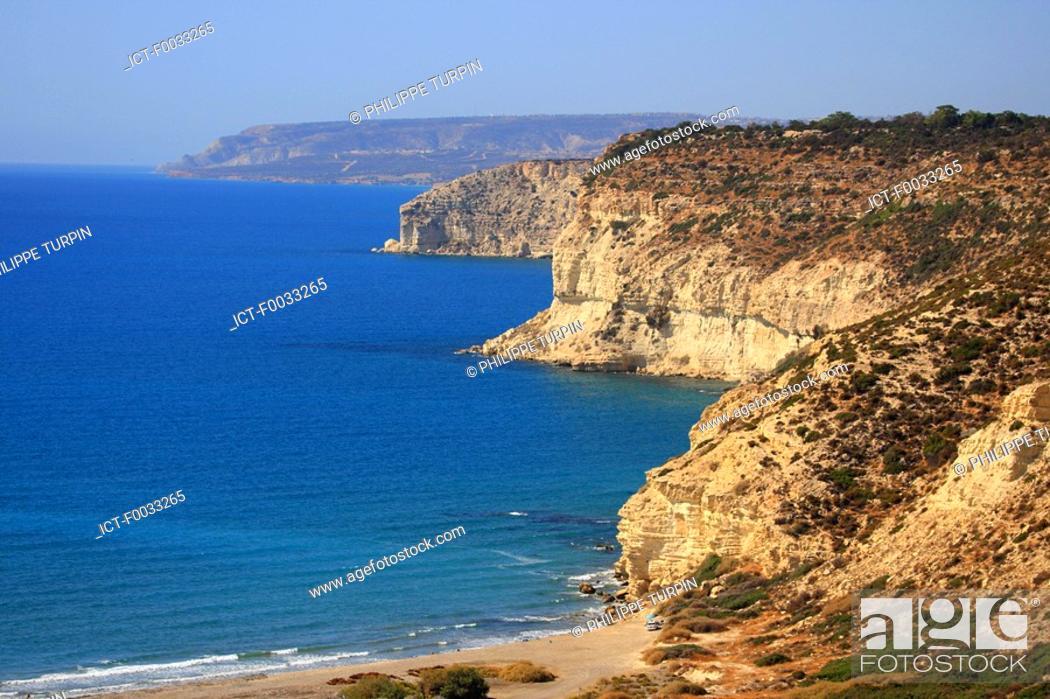 Stock Photo: Cyprus, Kourion, cliffs and beah.
