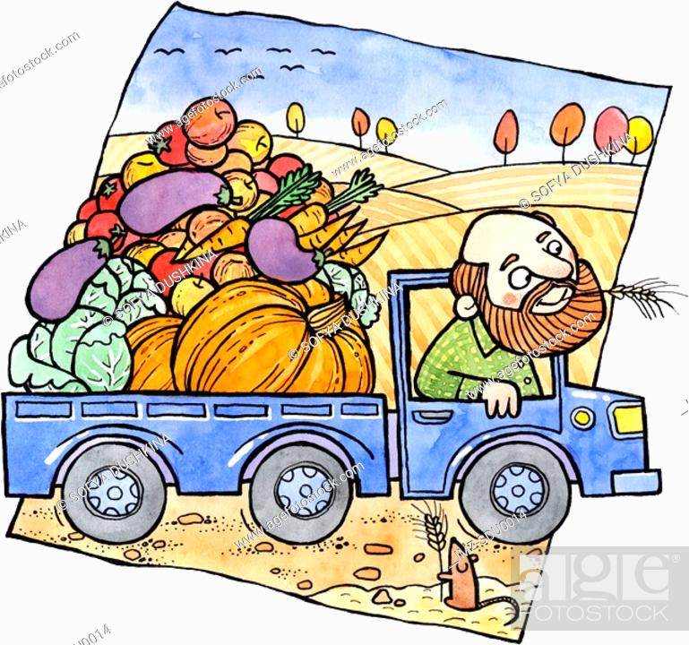 Stock Photo: A farmer driving a truck full of autumn vegetables.