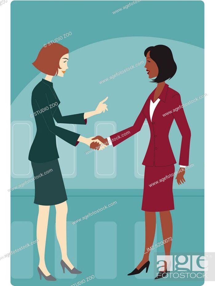 Stock Photo: Two businesswomen shaking hands.