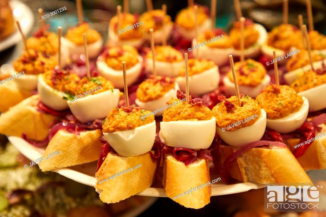 Stock Photo: Stuffed egg with tuna, Pintxos, Bar Taberna Aralar, Parte Vieja, Old Town, Donostia, San Sebastian, Gipuzkoa, Basque Country, Spain.