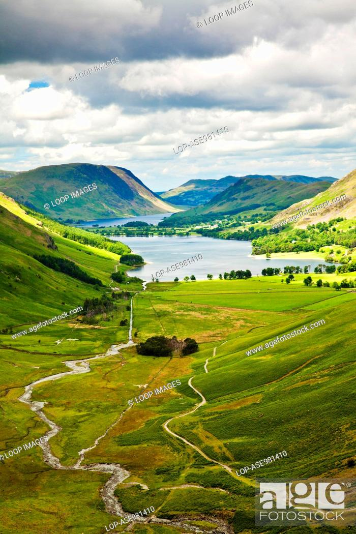 Stock Photo: View over Buttermere and Crummock Water from the Haystacks path.