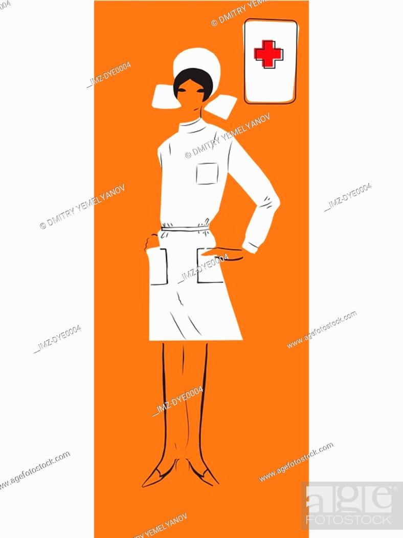 Stock Photo: A retro inspired illustration of a female nurse.