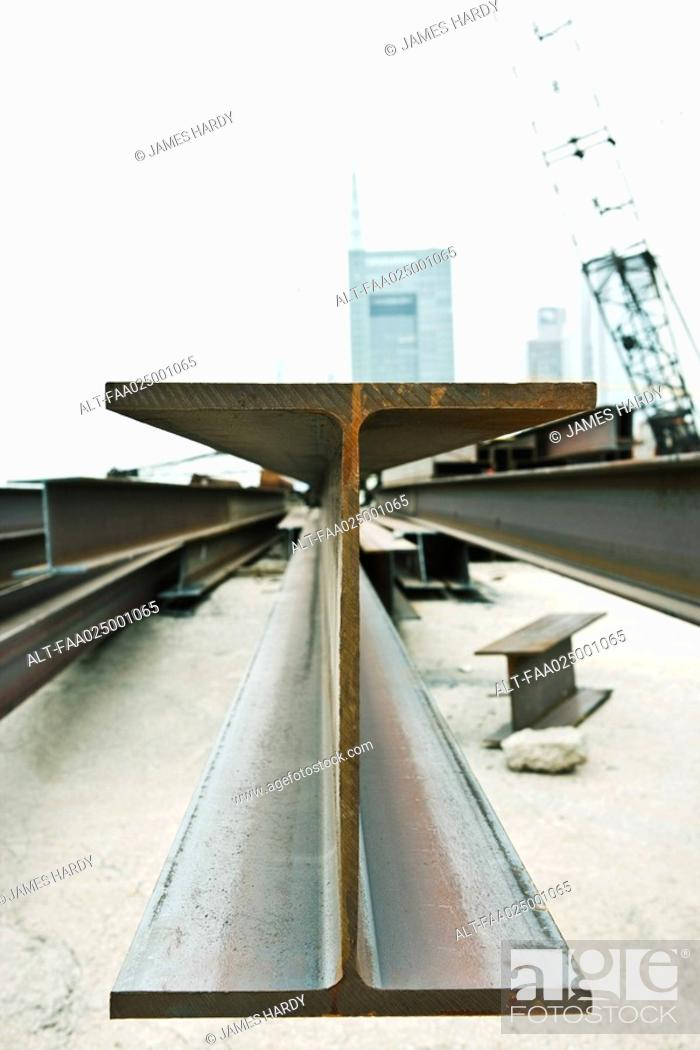 Stock Photo: Metal beam in construction site, close-up.