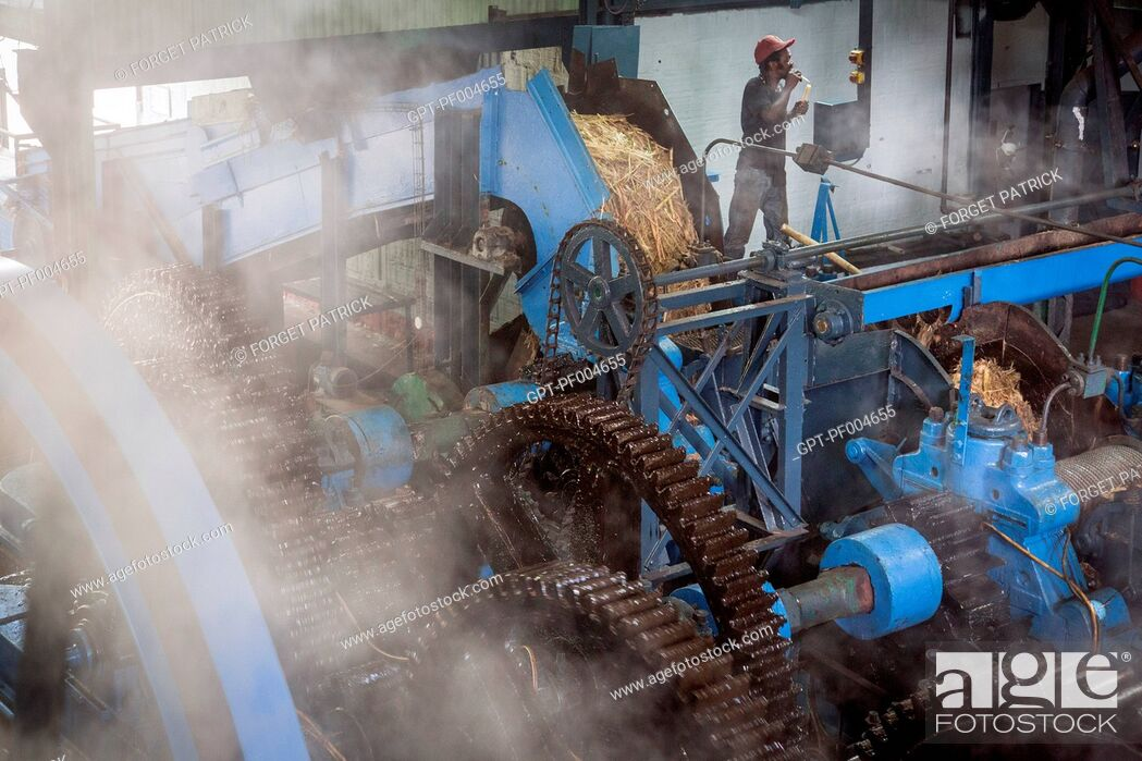 Stock Photo: MACHINE USED FOR CRUSHING THE SUGAR CANE AND EXTRACTING THE JUICE, LA FAVORITE RUM DISTILLERY, FORT-DE-FRANCE, MARTINIQUE, FRENCH ANTILLES, FRANCE.