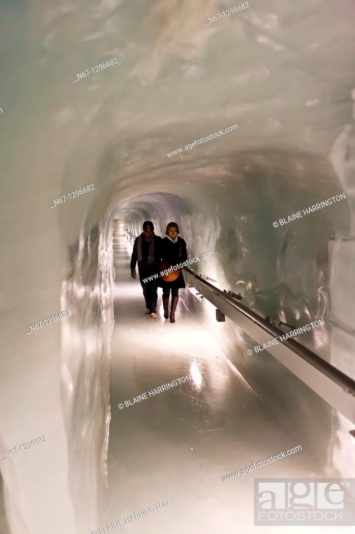Stock Photo: The Ice Palace Eispalast carved from the interior of Europe's longest glacier the Aletsch Glacier, Jungfraujoch Top of Europe, Canton Bern, Switzerland.