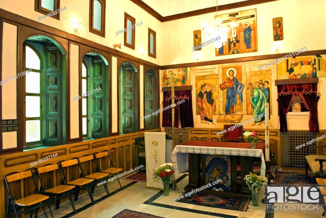 Interior of the Catholic Church Antakya, Turkey, Stock Photo