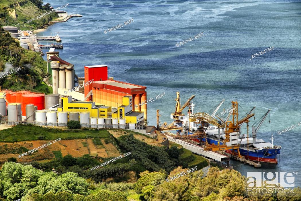 Stock Photo: Lisbon Harbour, view from Cristo Rei, Portugal.