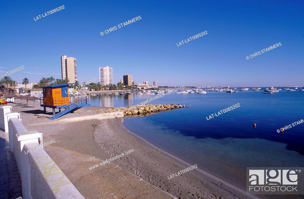 Stock Photo: Mar Menor. Santiago de la Ribera. Beach. Buildings. Boats moored.