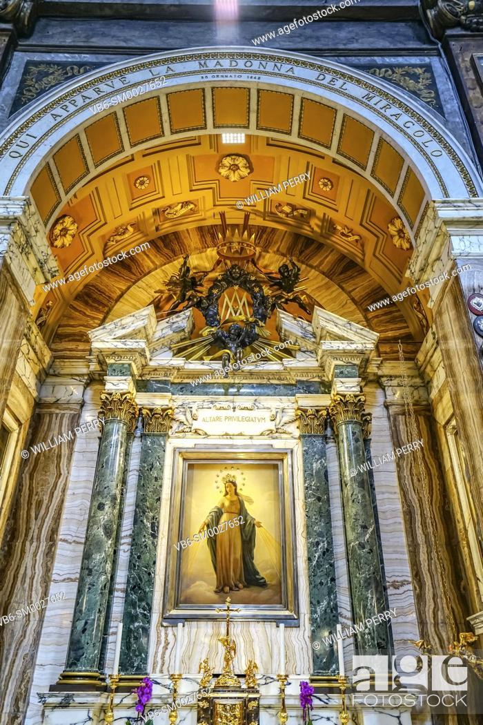 Stock Photo: Virgin Mary Assumption Painting Basilica Altar Santa Maria dei Miracoli Church at Piazza Popolo RAltar ome Italy. Built in the 1600s.