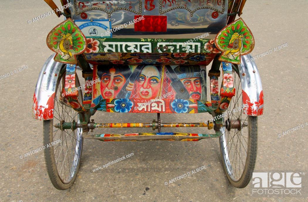 Stock Photo: decoration on a cycle-powered rickshaw  dhaka  bangladesh  asia.
