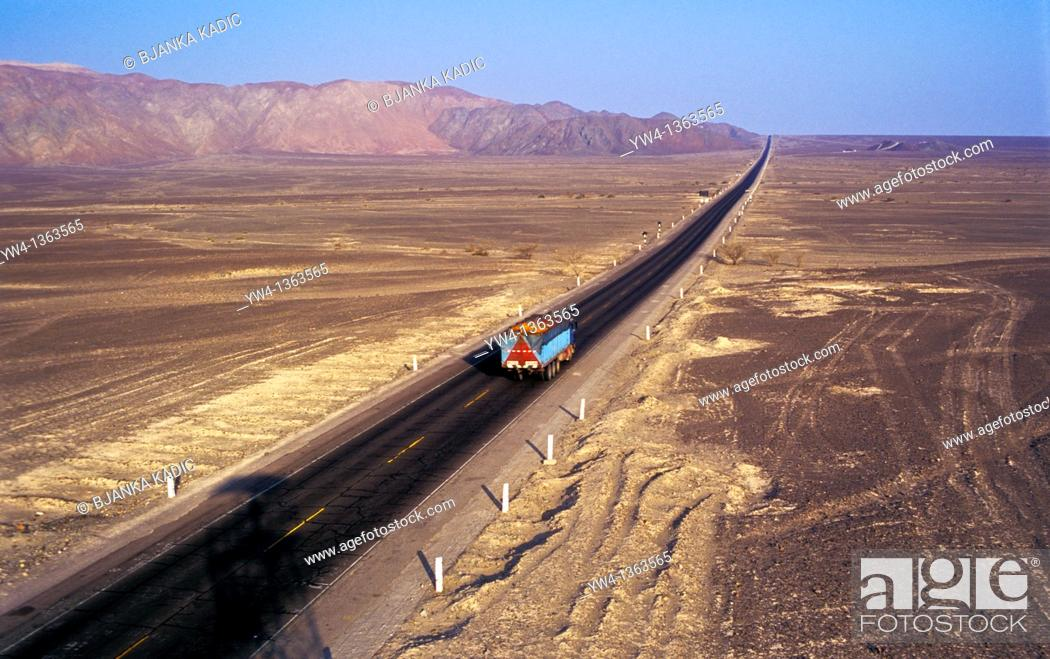Stock Photo: Big lorry on the road near Nasca, Peru.