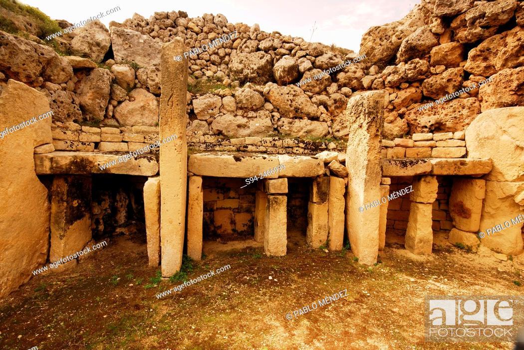 Stock Photo: Megalithic temples of Ggantija in Xaghra, Gozo island, Malta.