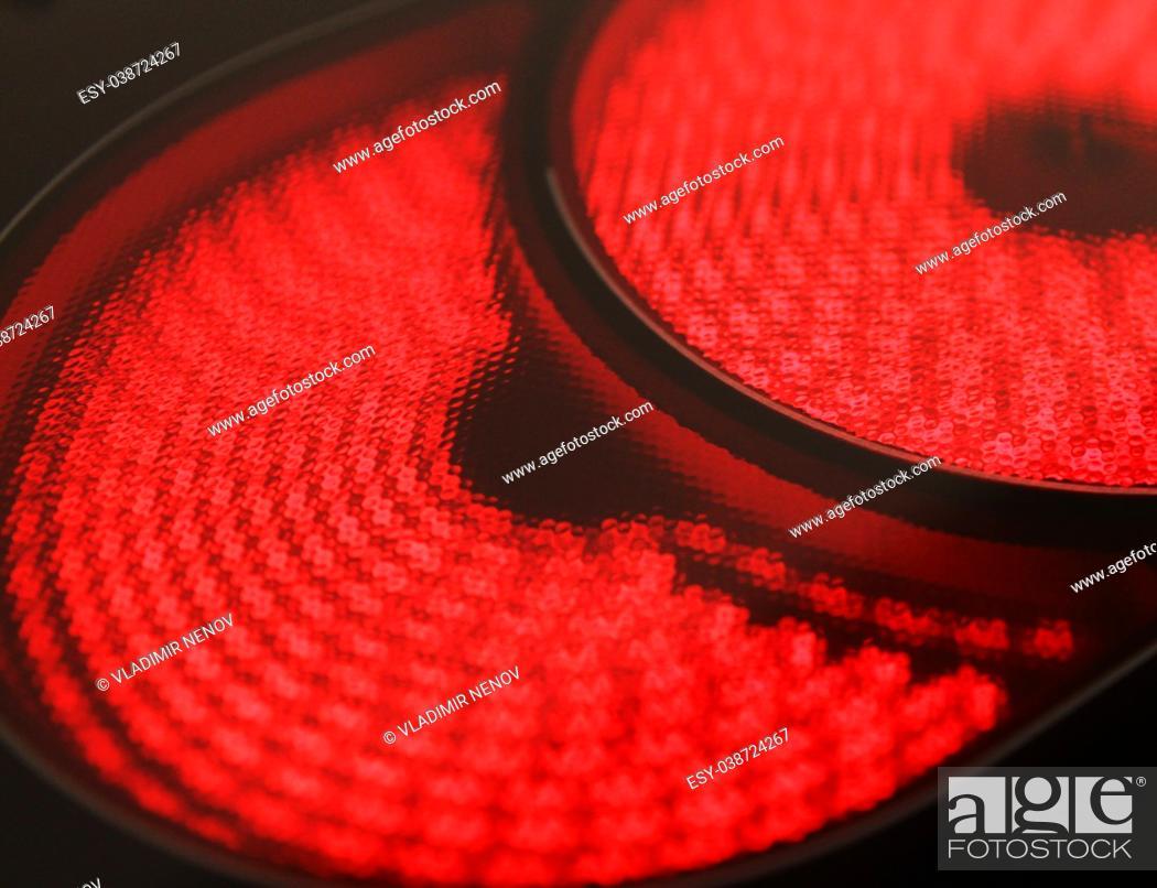 Stock Photo: Hot electric hob.