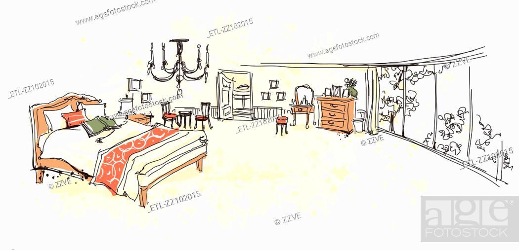 Stock Photo: Bed room Interior.