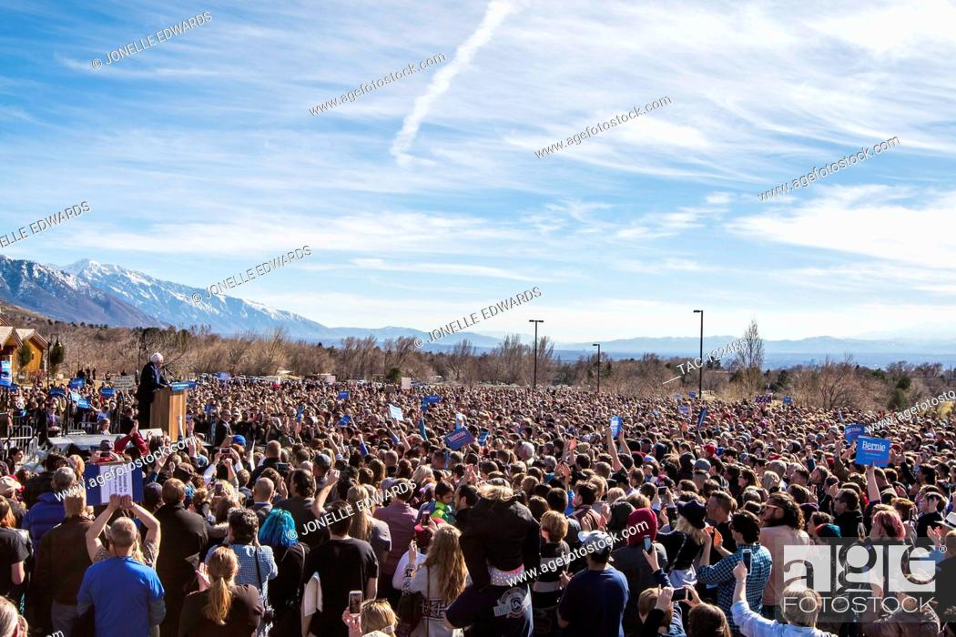 Stock Photo: Senator Bernie Sanders holds a A Future to Believe In Salt Lake City Rally outside to a crowd of supporters, on March 18, 2016 in Salt Lake City, Utah.