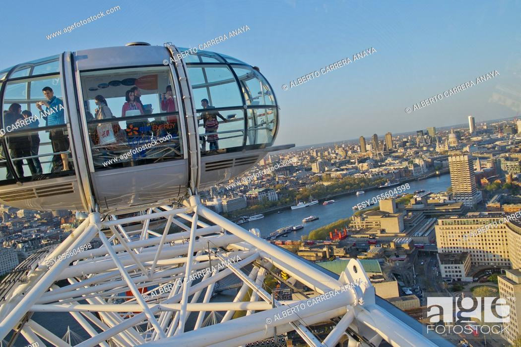 Stock Photo: Aerial View from London Eye, London, England, Great Britain, Europe.