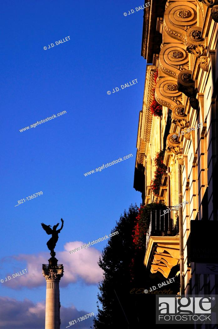 Stock Photo: France, Aquitaine, Gironde, column on the fountain of the Girondins, at Bordeaux.