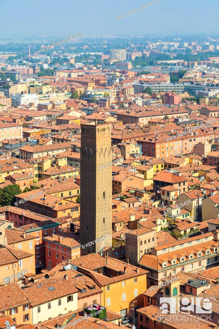 Stock Photo: Bologna, Emilia-Romagna, Italy. View from Torre Asinelli to Torre Prendiparte and historic centre of the city.