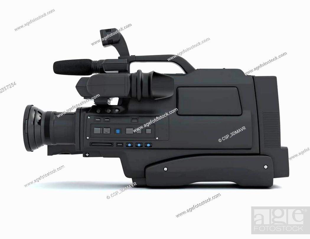 Stock Photo: Professional video camera side view.