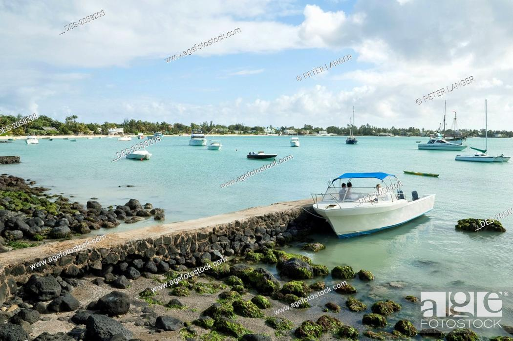 Boats In Grand Bay, Mauritius, Stock Photo, Picture And