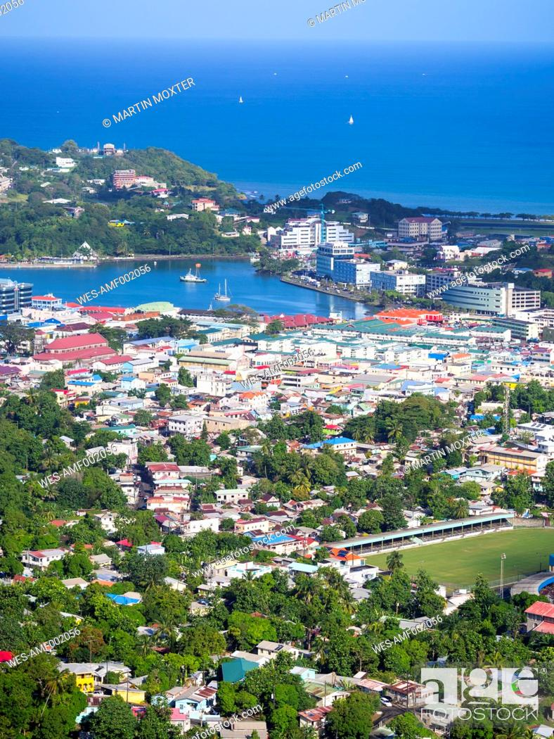 Stock Photo: Caribbean, Lesser Antilles, Saint Lucia, Castries, container harbour.