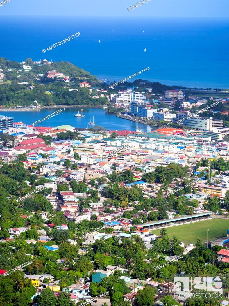 Stock Photo: Caribbean, Lesser Antilles, Saint Lucia, Castries, container harbour.