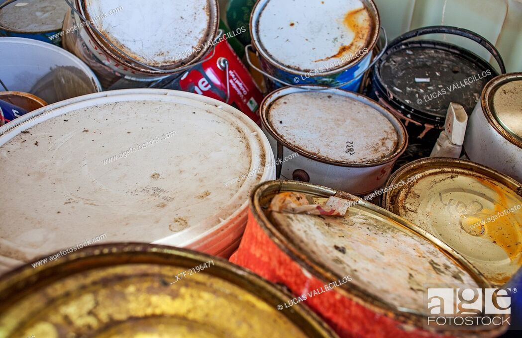 Stock Photo: Used paint cans storage to recycle, recycling center.
