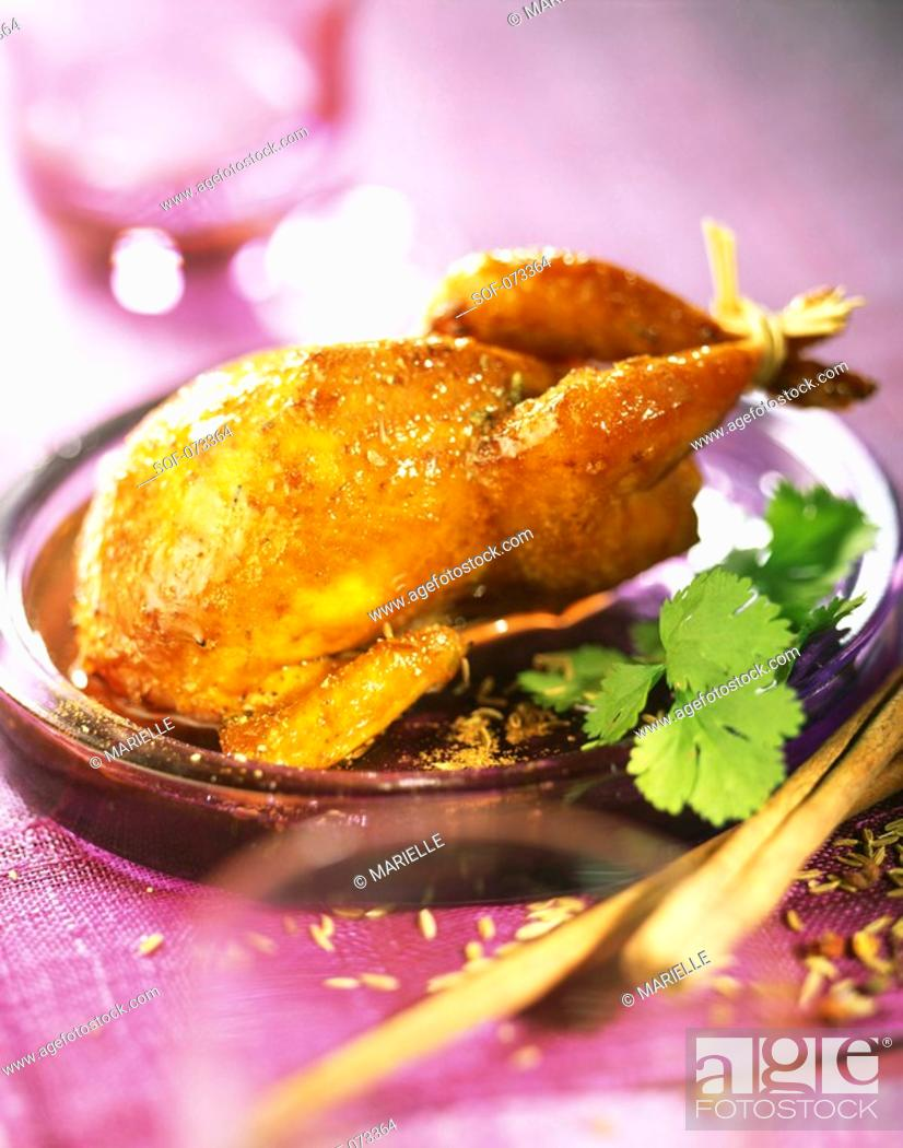 Stock Photo: quail with spices and honey.