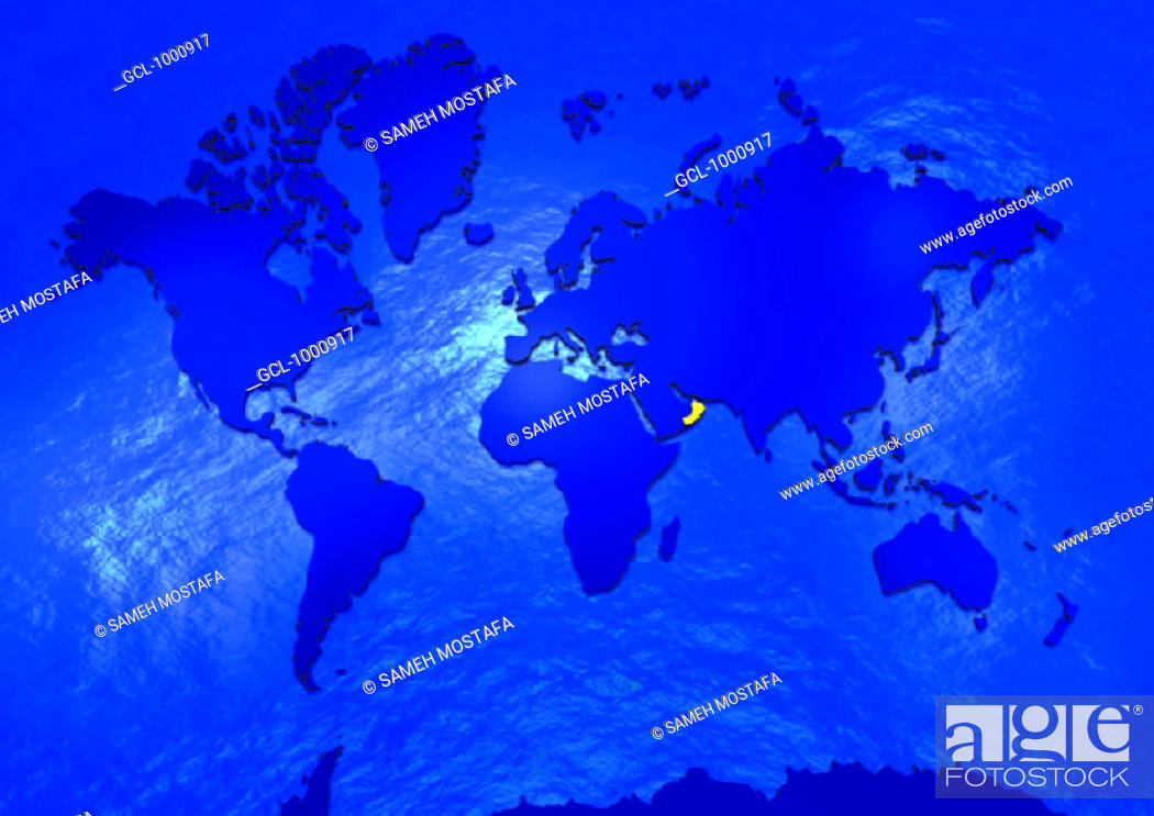 Stock Photo: Oman on world map.
