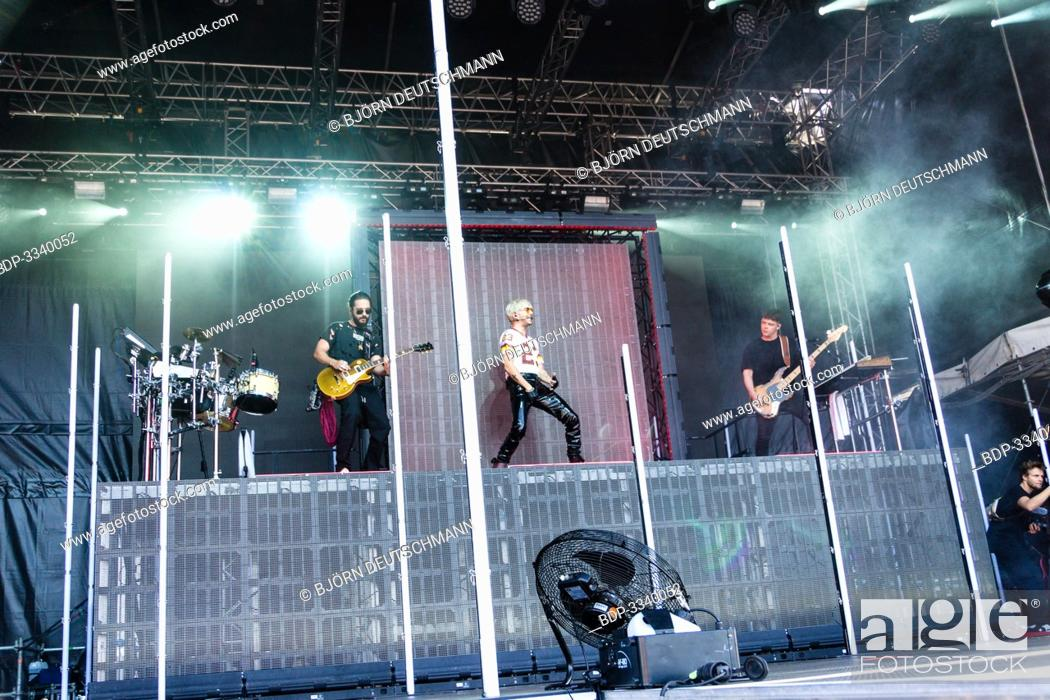 """Stock Photo: Kiel, Germany - June 28tht 2019: The Band """"""""Tokio Hotel"""""""" is performing on the Hörn Stage."""