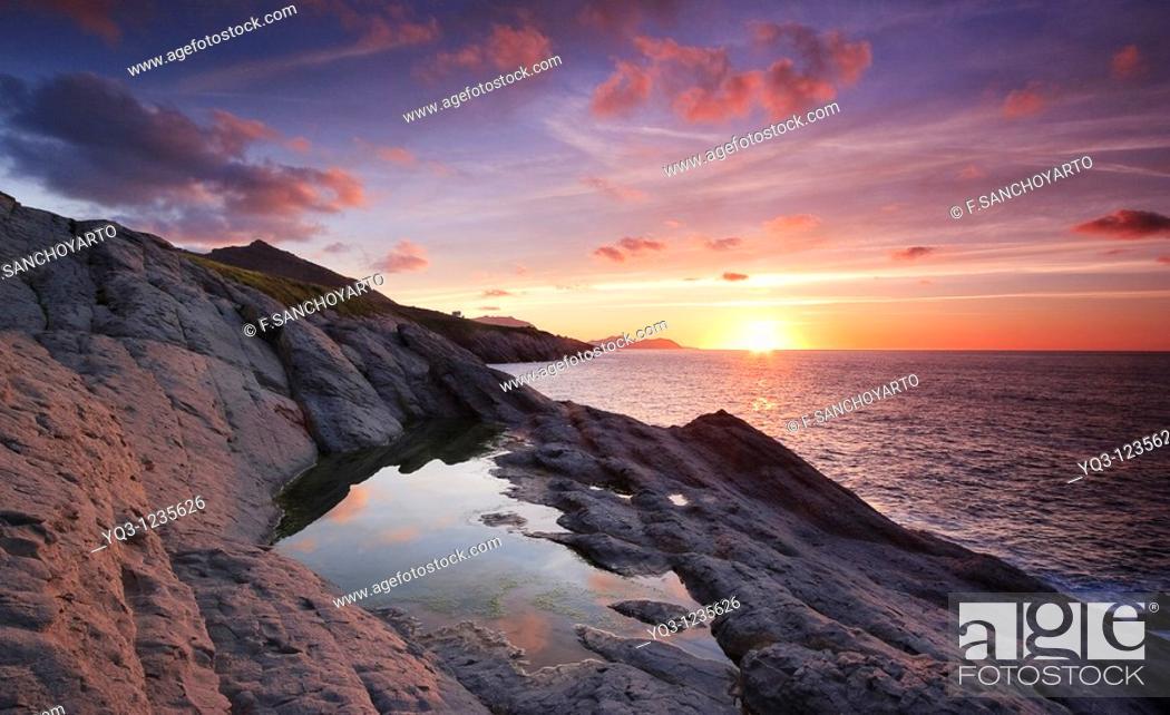 Stock Photo: Sunset. Punta de la Lastra, Castro Urdiales, Cantabria, Spain.