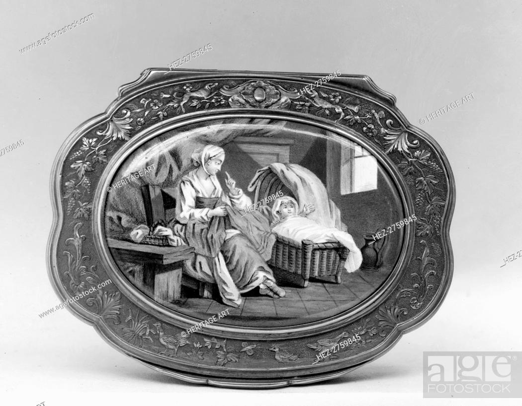 Photo de stock: Snuffbox with domestic scene, third quarter 18th century. Creator: Unknown.