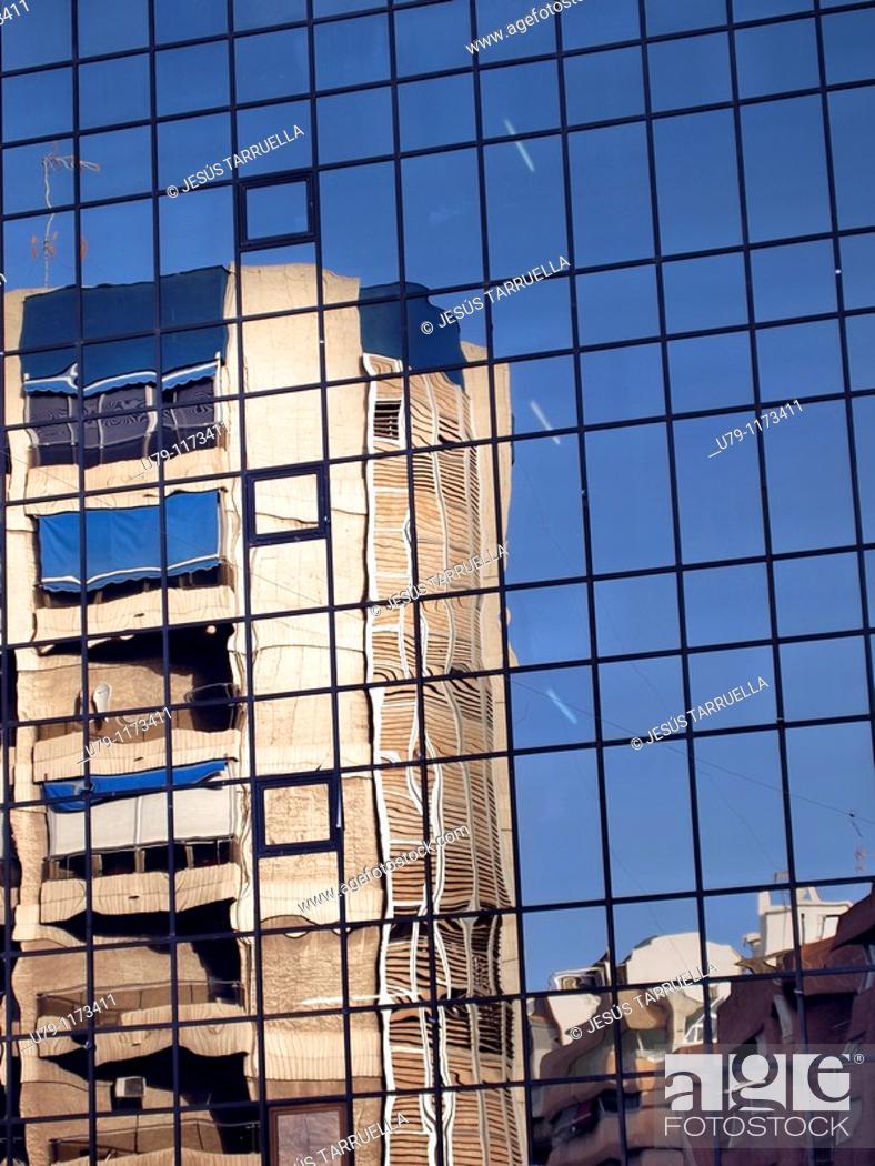 Stock Photo: Mirror image of a building  Alicante  Valencia  Spain  Europe.