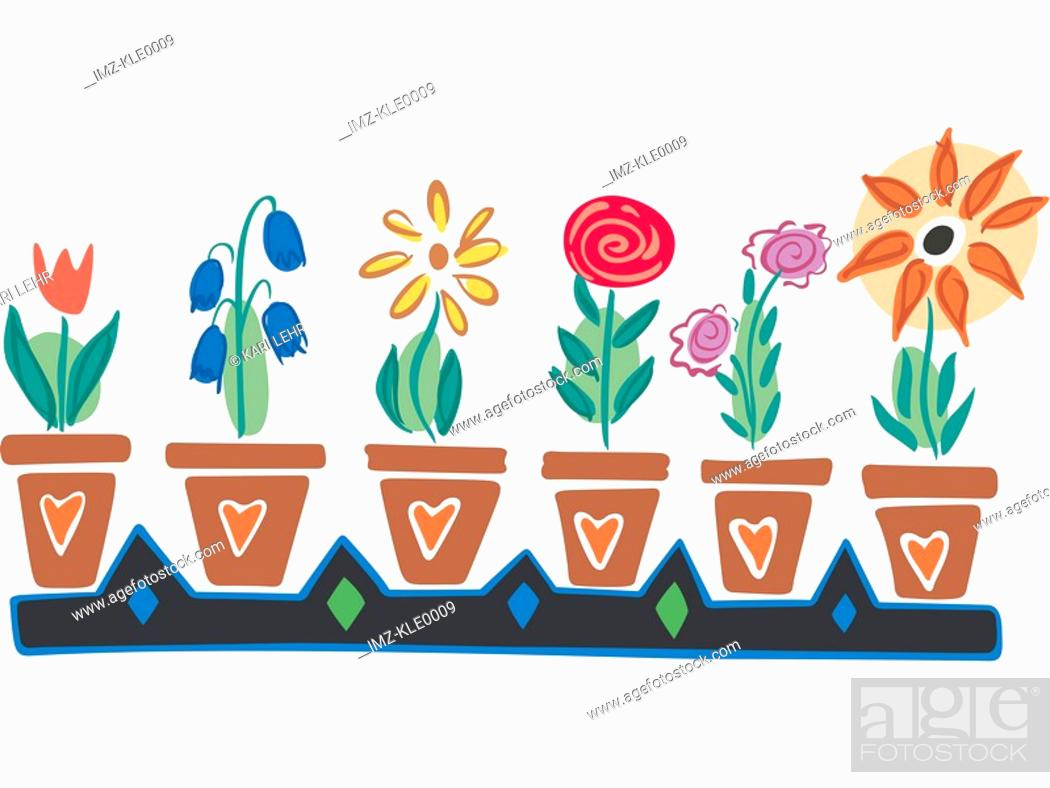 Stock Photo: Different flowers in pots in a row.