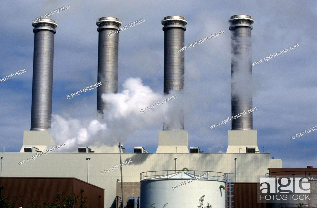 Stock Photo: Stacks of gas fired power station near Killingholme, UK.
