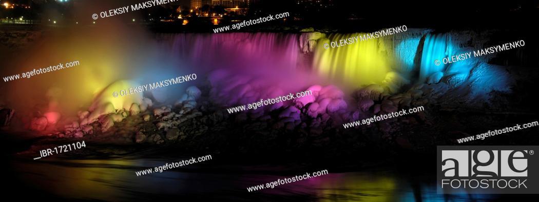 Panoramic View Winter Night Illuminated With Colorful