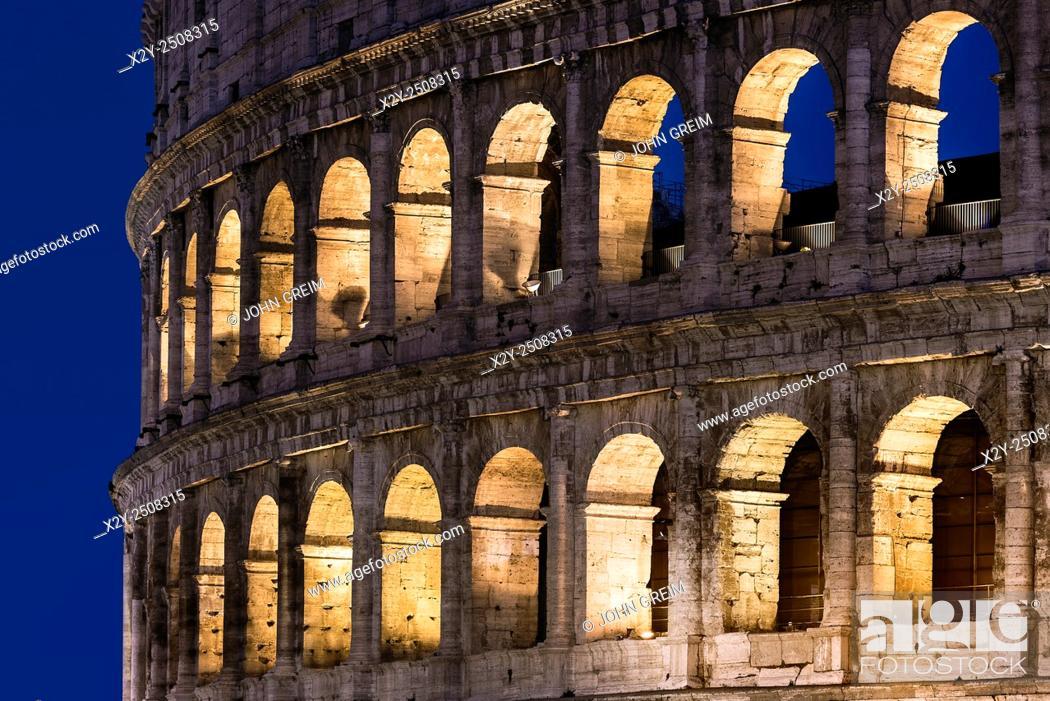 Stock Photo: Roman Coliseum detail at night, Rome, Italy.