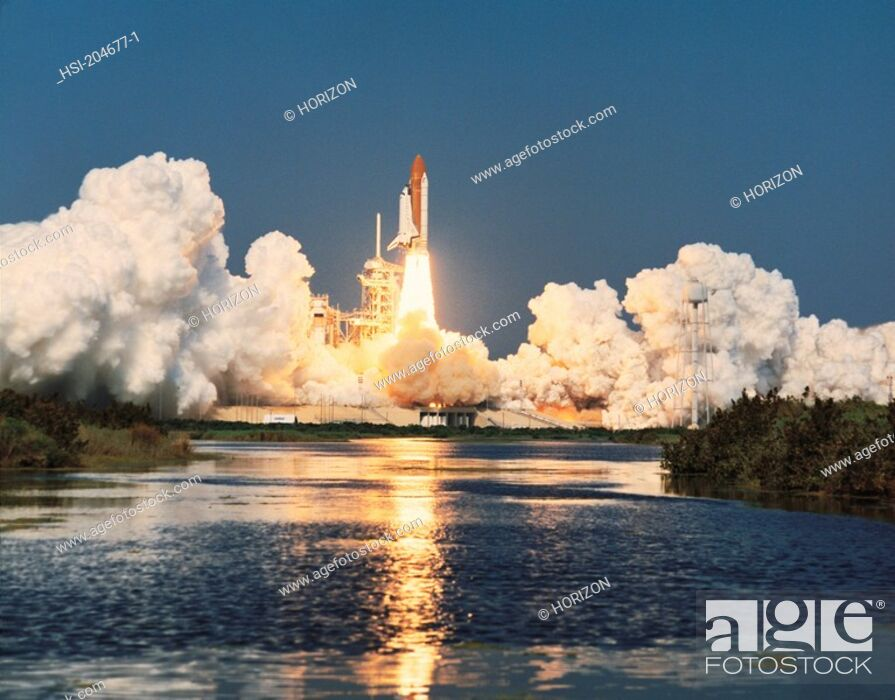Stock Photo: Space & astronomy, Transport, Space vehicle, NASA, U S A , Space Shuttle launch,.
