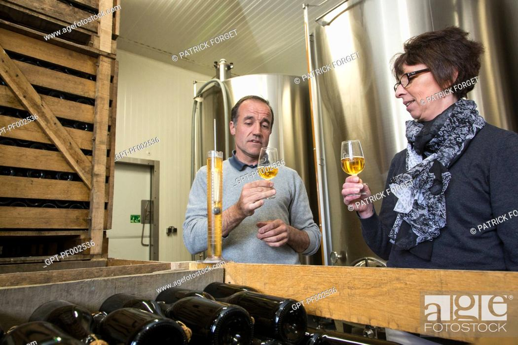 Imagen: NATHALIE DE WEVER, SHOP OWNER AND MEMBER OF THE LOCAVORE MOVEMENT, TASTING CIDER MADE BY ERIC DORE, CIDER-MAKER, IN THE CELLARS OF THE PRESSOIR D'OR, BOISEMONT.