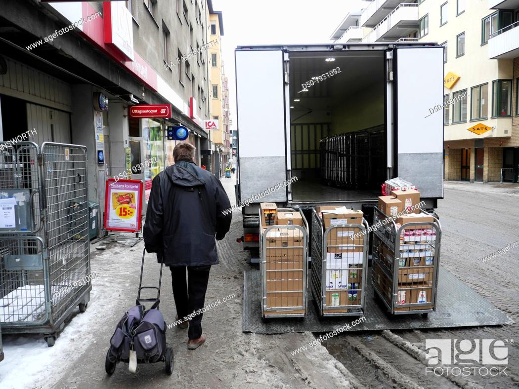 Stock Photo: STOCKHOLM SWEDEN Supermarket Shopper Delivery.