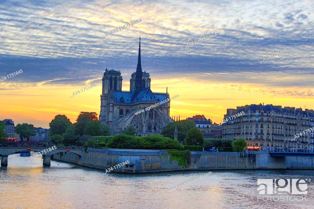 Stock Photo: France , Paris City, Notre Dame Cathedral.