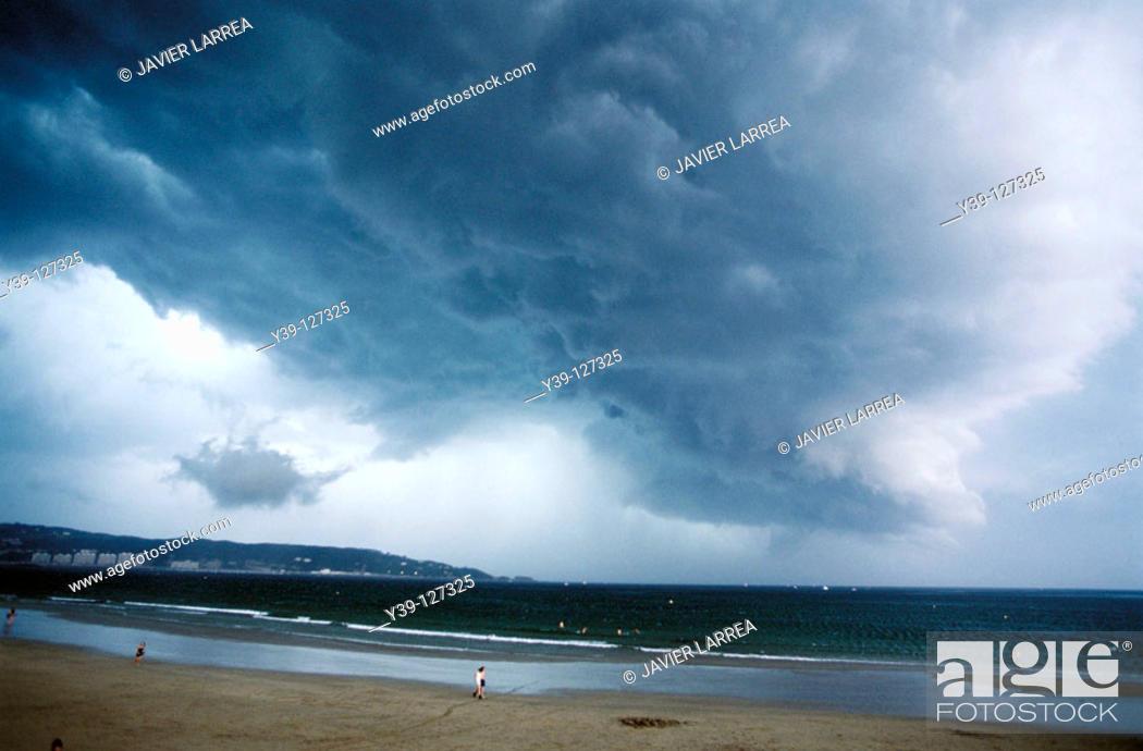Stock Photo: Stormy sky, Hendaye. Aquitaine, France.