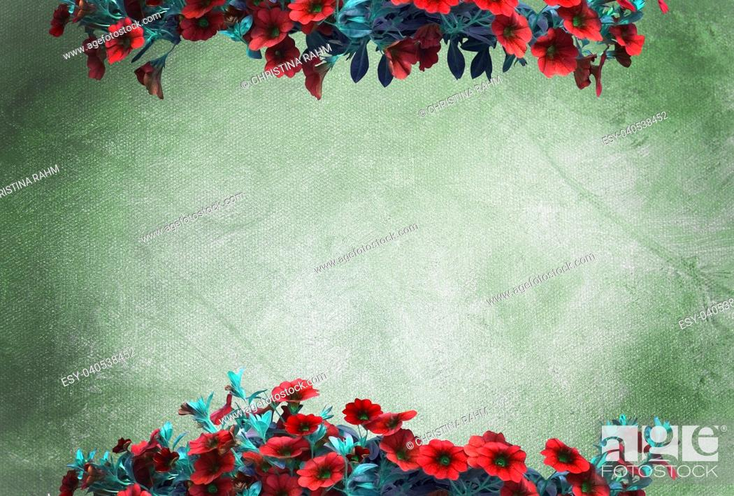 Stock Photo: Red petunias on green oil painting canvas background copy space texture.