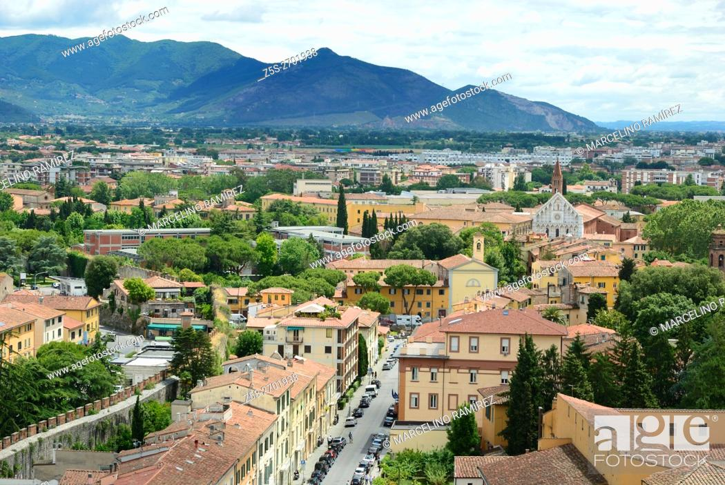 Stock Photo: The historic center of Pisa viewed from the leaning tower. Pisa, Tuscany, Italy, Europe.