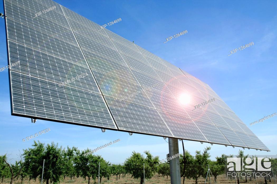 Stock Photo: Photovoltaic panels  Arbeca Lleida Catalonia, Spain.