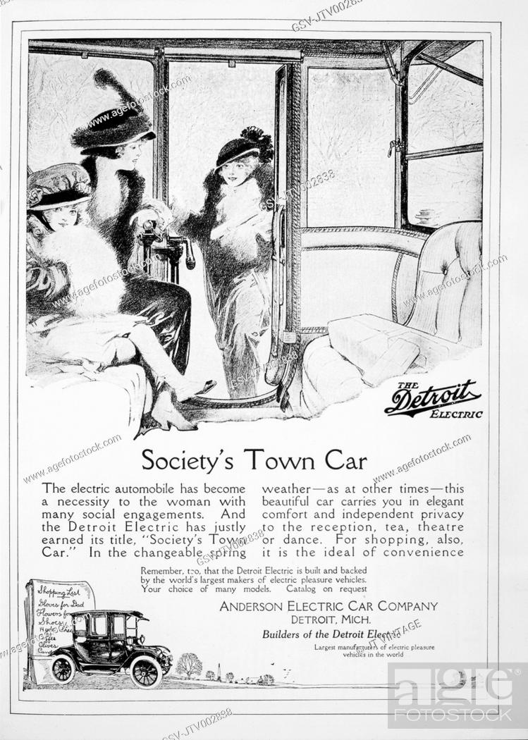 Stock Photo Adver For Detroit Electric Automobile Anderson Car Company 1914