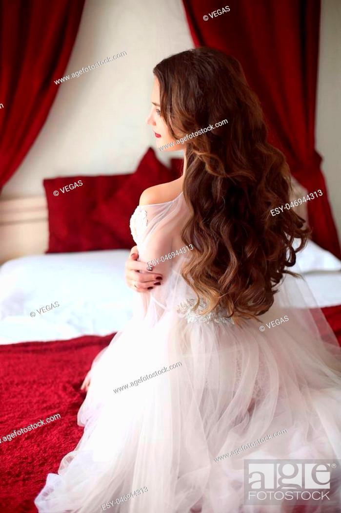 Wedding Hairstyle Beautiful Bride Portrait With Curly Hair Style